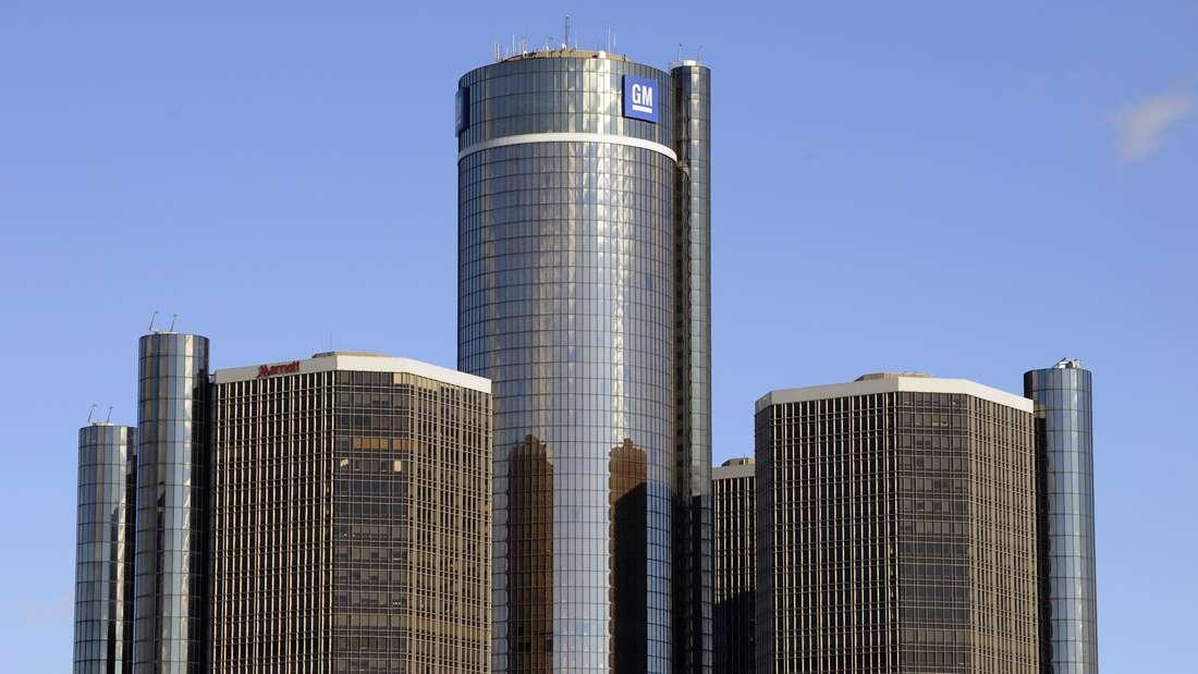 Das Hauptquartier von General Motors (GM), aufgenommen am 13.01.2009 in Detroit.