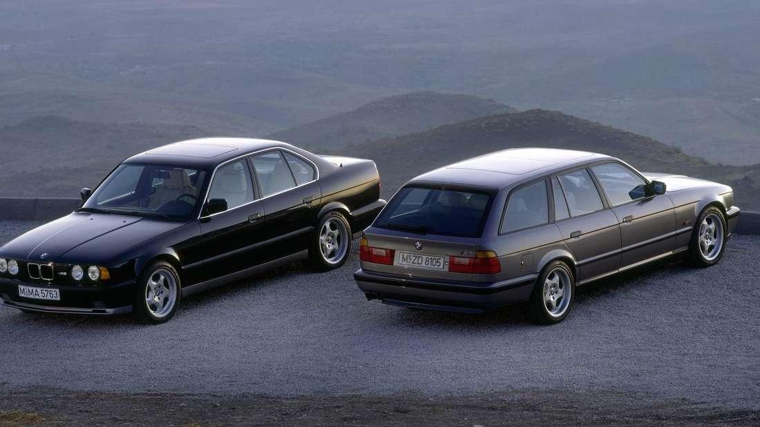Der BMW M5 der Generation E34 als Limousine und als Touring.