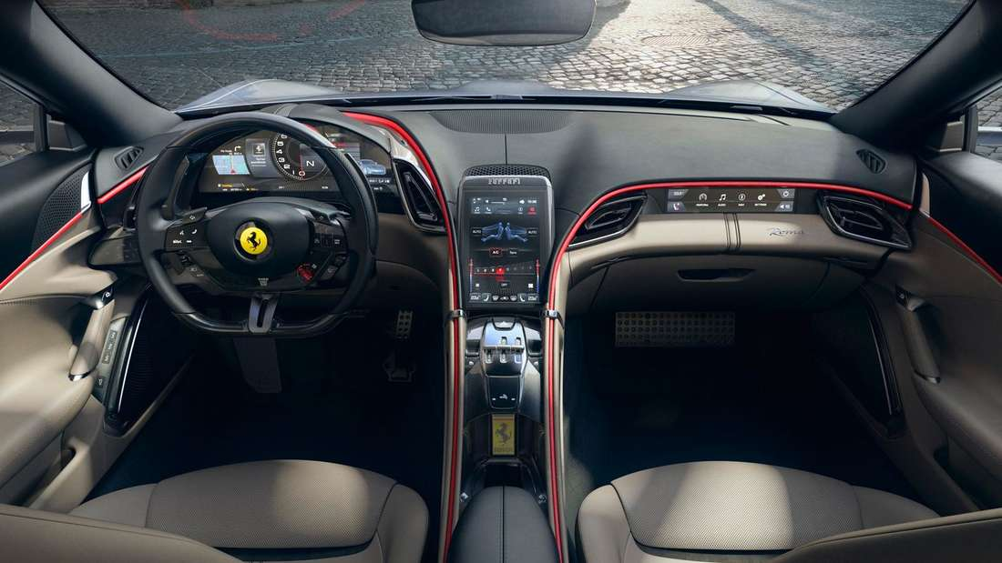 Ein Aufnahme des Copckpits des Ferrari Roma.