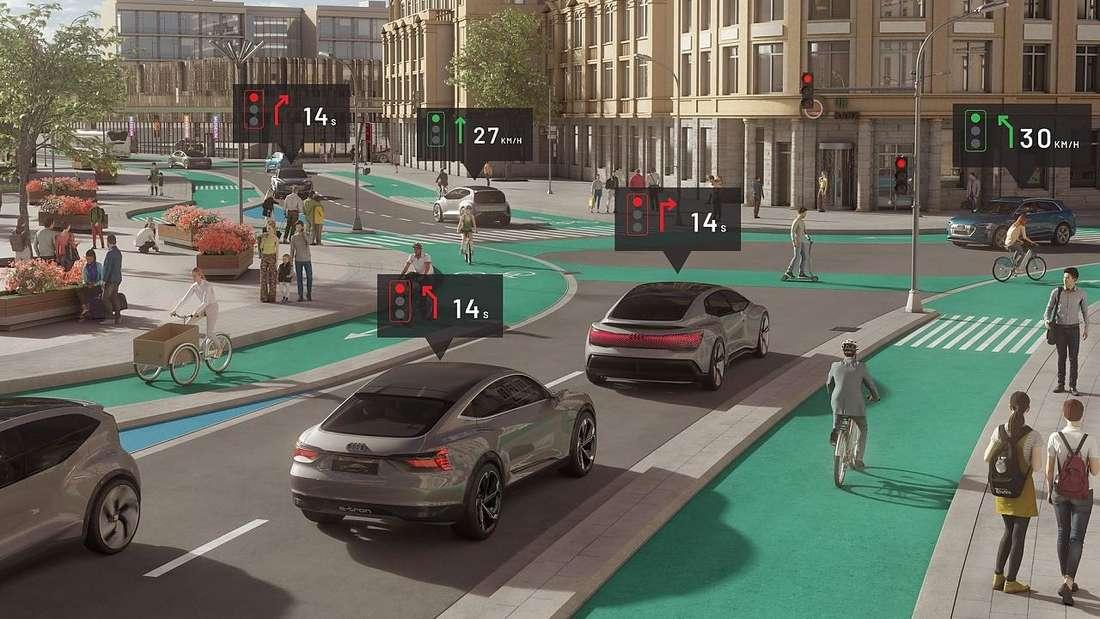Eine Computeranimation zum Thema autonomes Fahren mit Audi-Modellen.