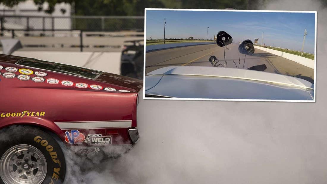 Das Heck eines Dragsters, qualmende Reifen und einen Video-Ausschnitt mit den Bremsfallschirmen.