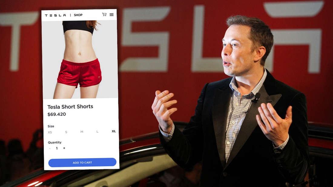 Tesla-Chef Elon Musk und ein Bild der roten Satin-Shorts.