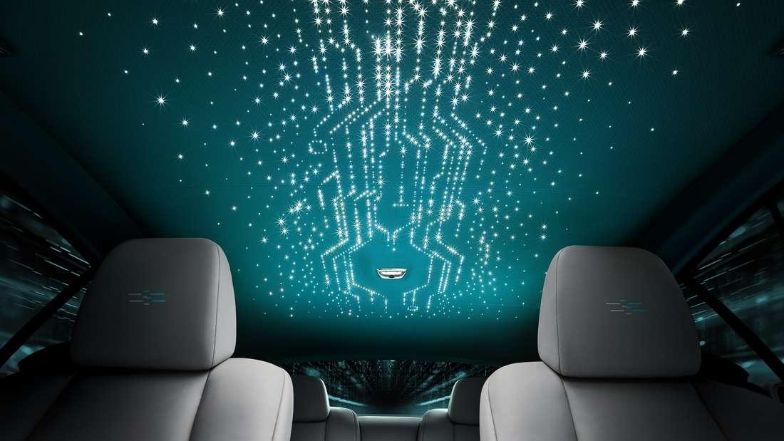 Blick an den Krypto-Himmel im Innenraum des Rolls-Royce Wraith der Kryptos-Edition.