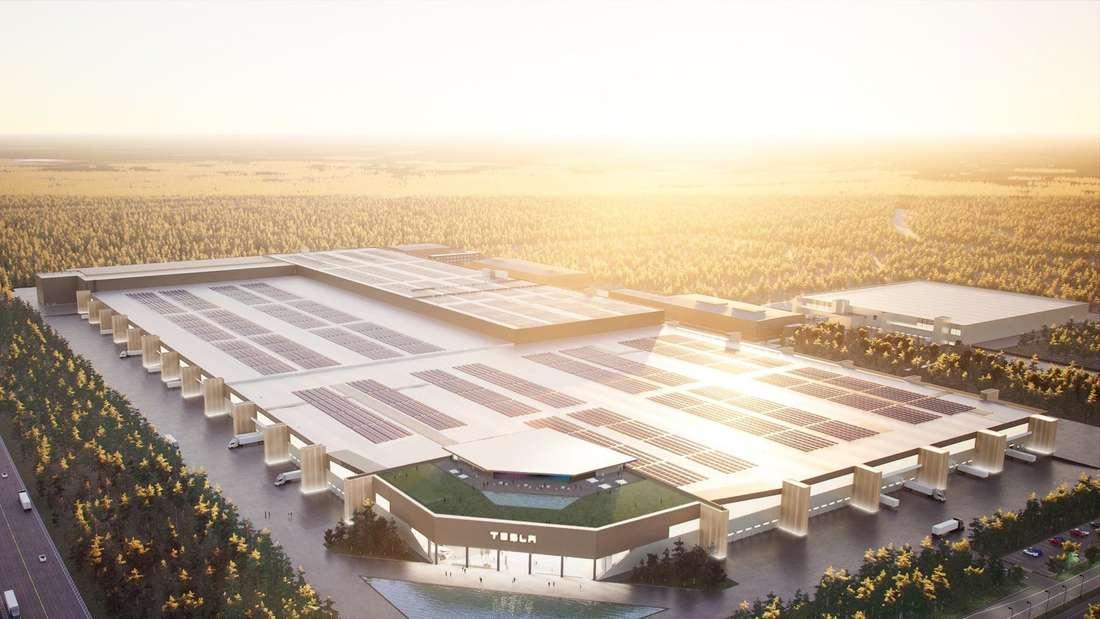 Ansicht der deutschen Tesla Gigafactory aus der Luft