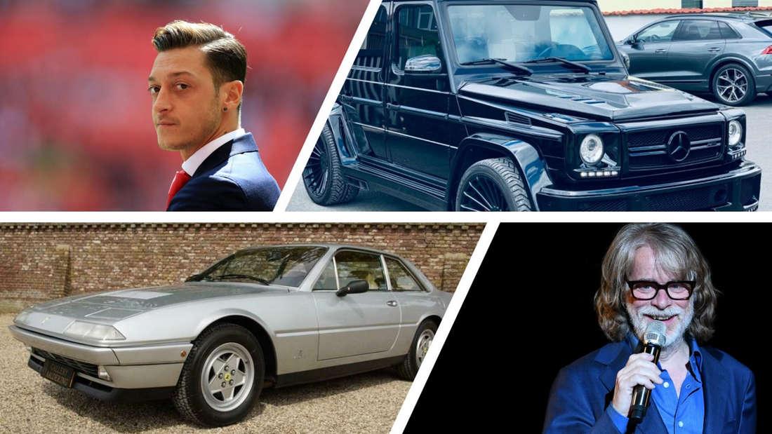 Collage aus den ehemaligen Autos von Mesut Özil und Helge Schneider.