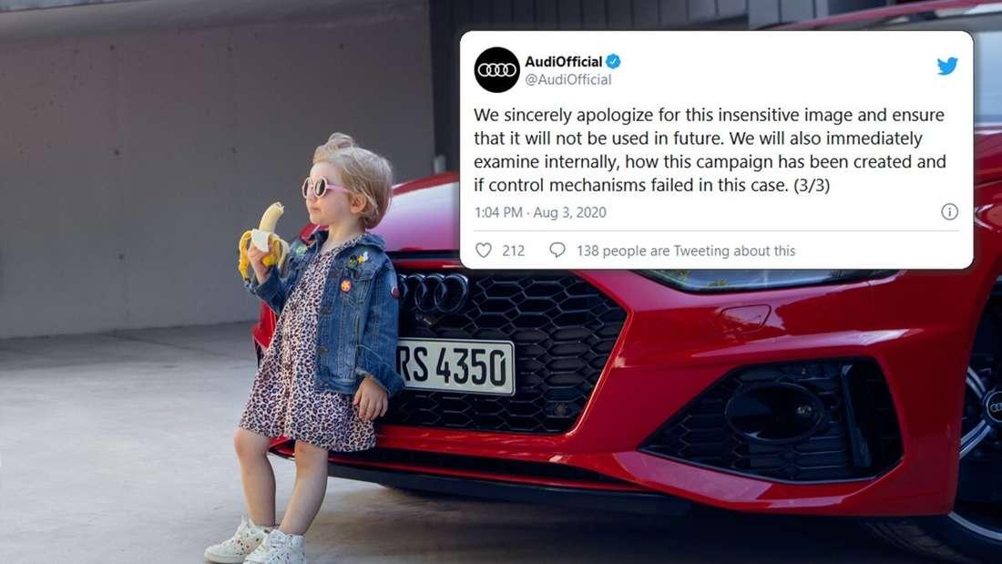 Ein kleines Mädchen steht mit einer Banane vor einem Audi RS4, darüber der Entschuldigungs-Tweet von Audi.