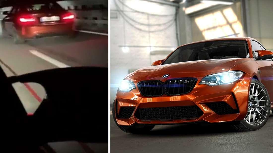 Ein BMW M2 Competition in Sunset Orange, der Ausschnitt eines TikTok-Videos (Symbolbild).