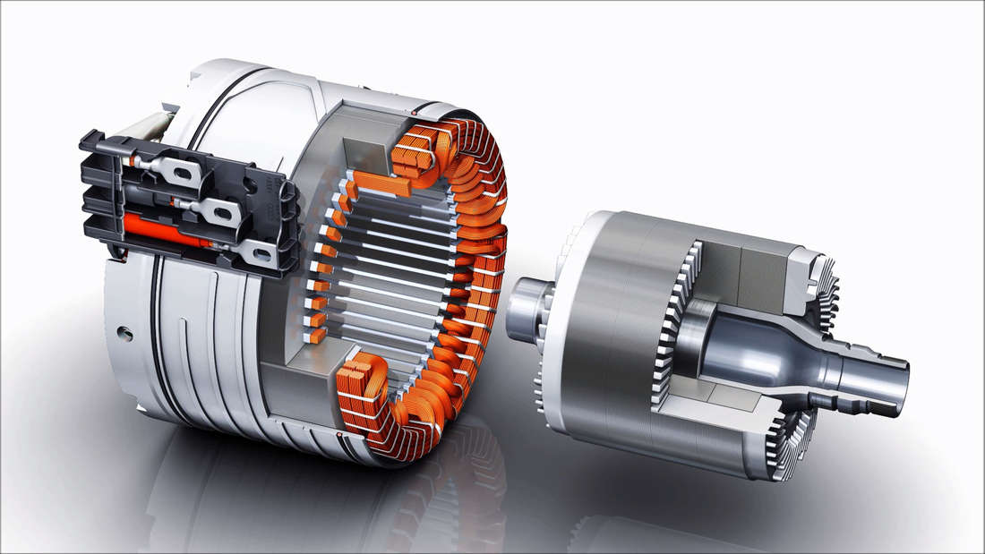 Grafik eines Asynchronmotors aus einem Audi e-tron
