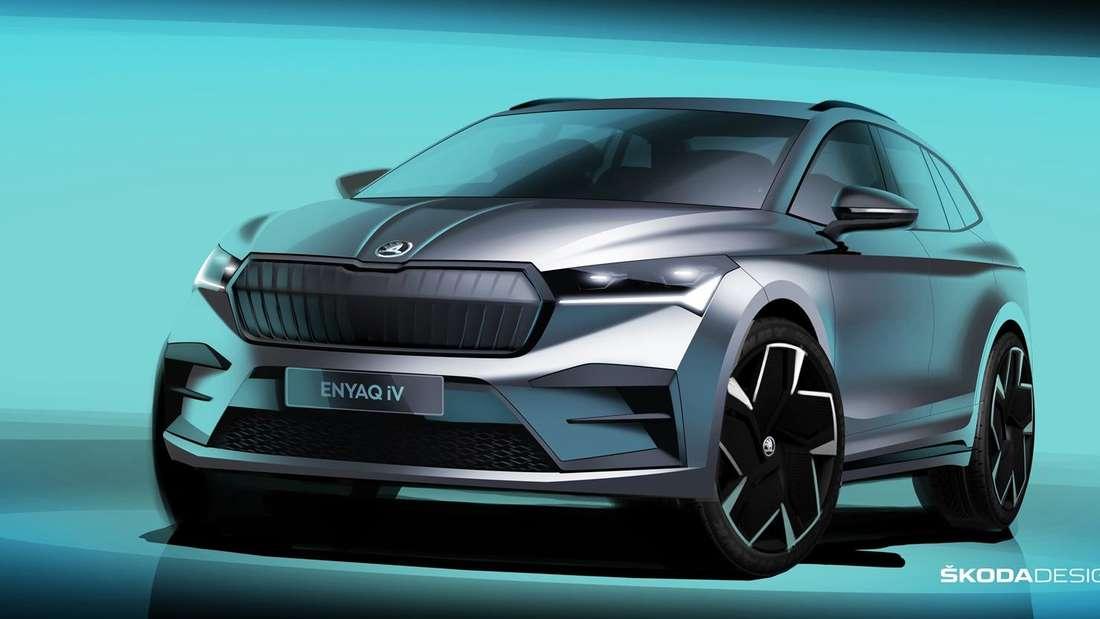 Skizze eines Škoda Enyaq.