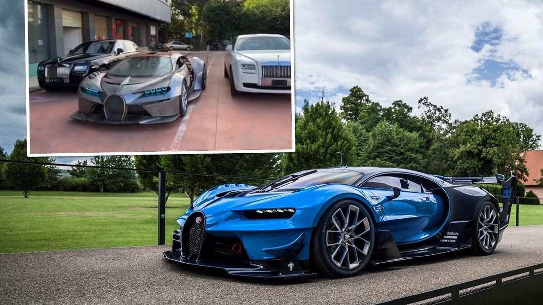 Der originale Bugatti Vision Gran Turismo, darüber der China-Nachbau (Symbolbild).