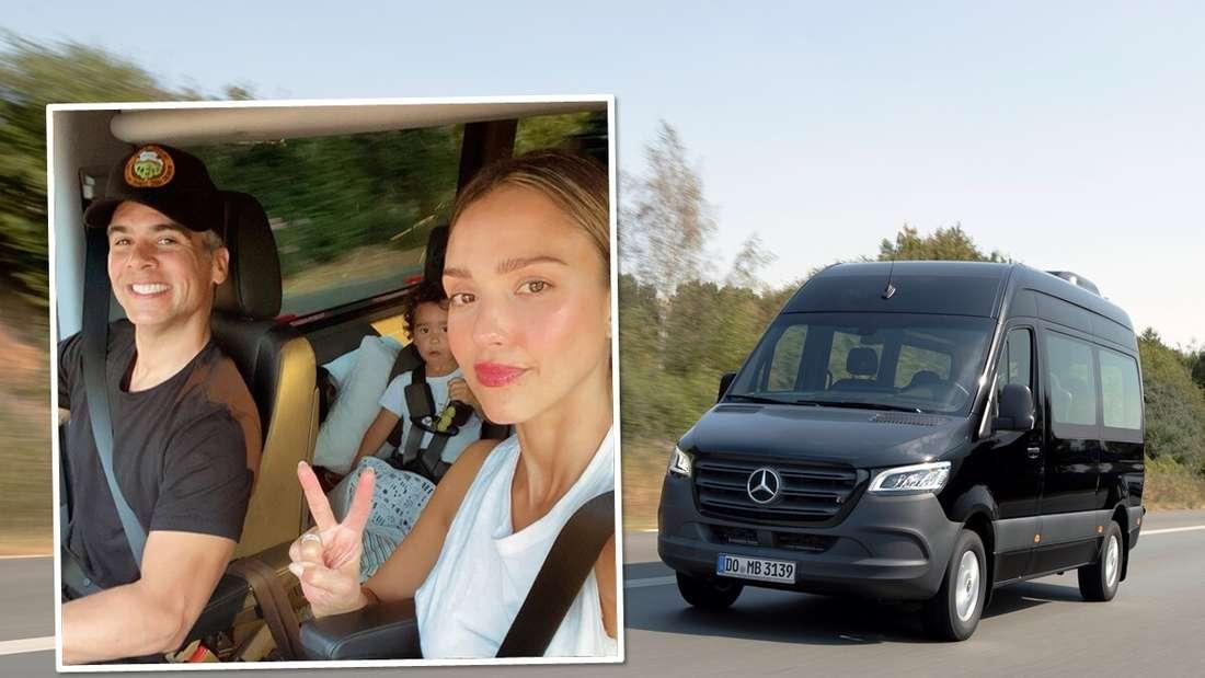 Fahraufnahme eines schwarzen Mercedes Sprinter und ein Foto von Jessica Alba und ihrem Mann im Auto (Symbolbild).