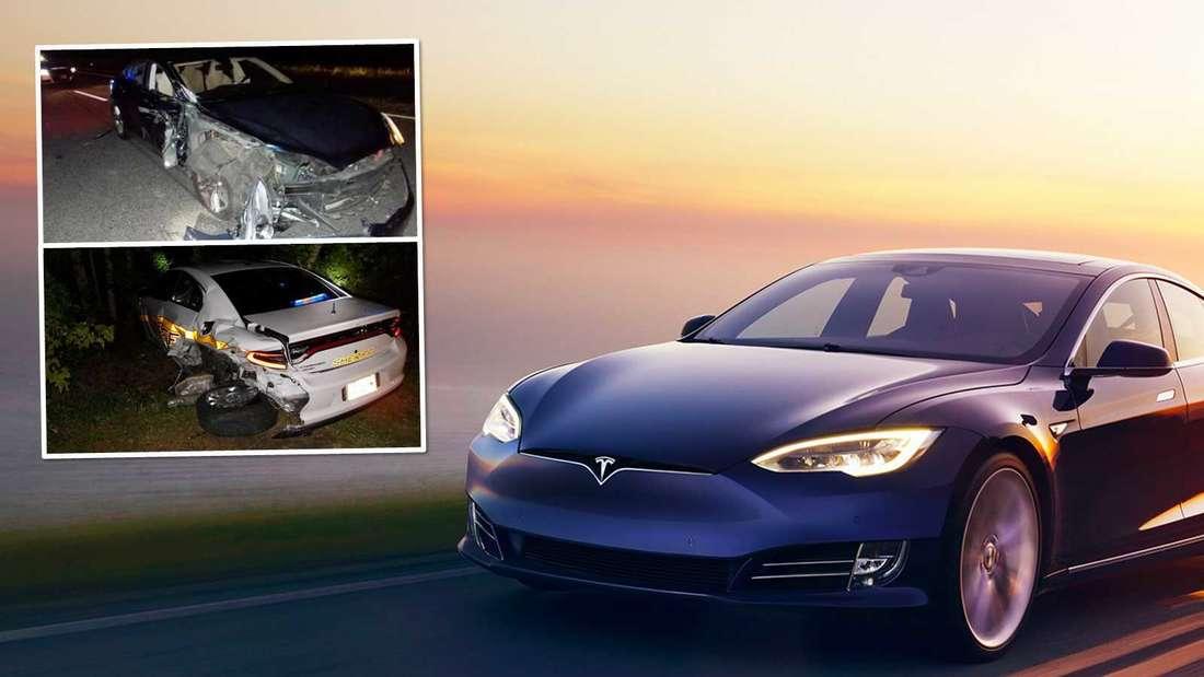 Fahraufnahme eines Tesla, Bilder vom Unfall in North Carolina. (Symbolbild)