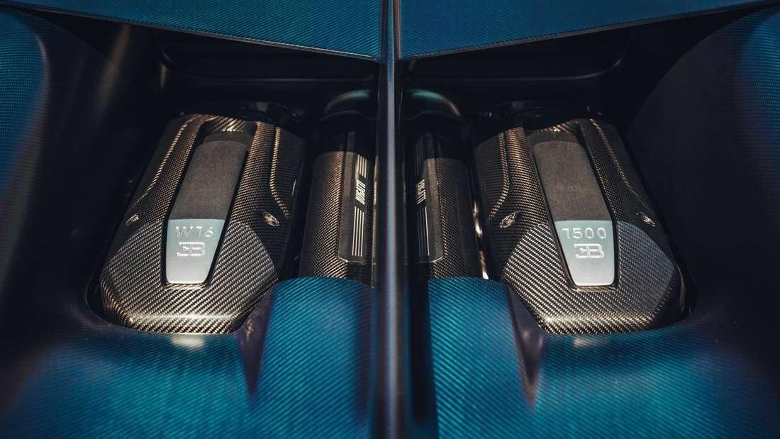 Detailaufnahme des Motors eines Bugatti Divo
