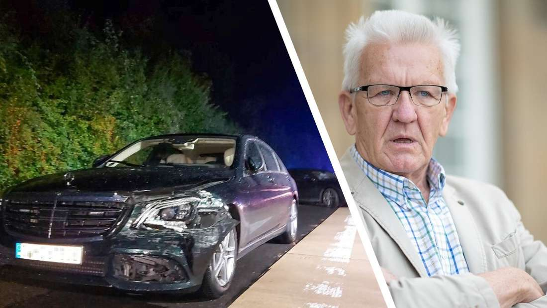Die demolierte Mercedes S-Klasse von Winfried Kretschmann, ein Bild des Grünen-Politikers.