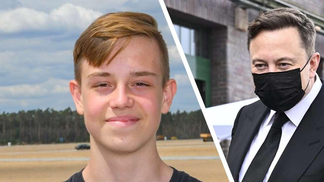 """""""Tesla Kid"""" Silas Heineken und Tesla-Chef Elon Musk."""