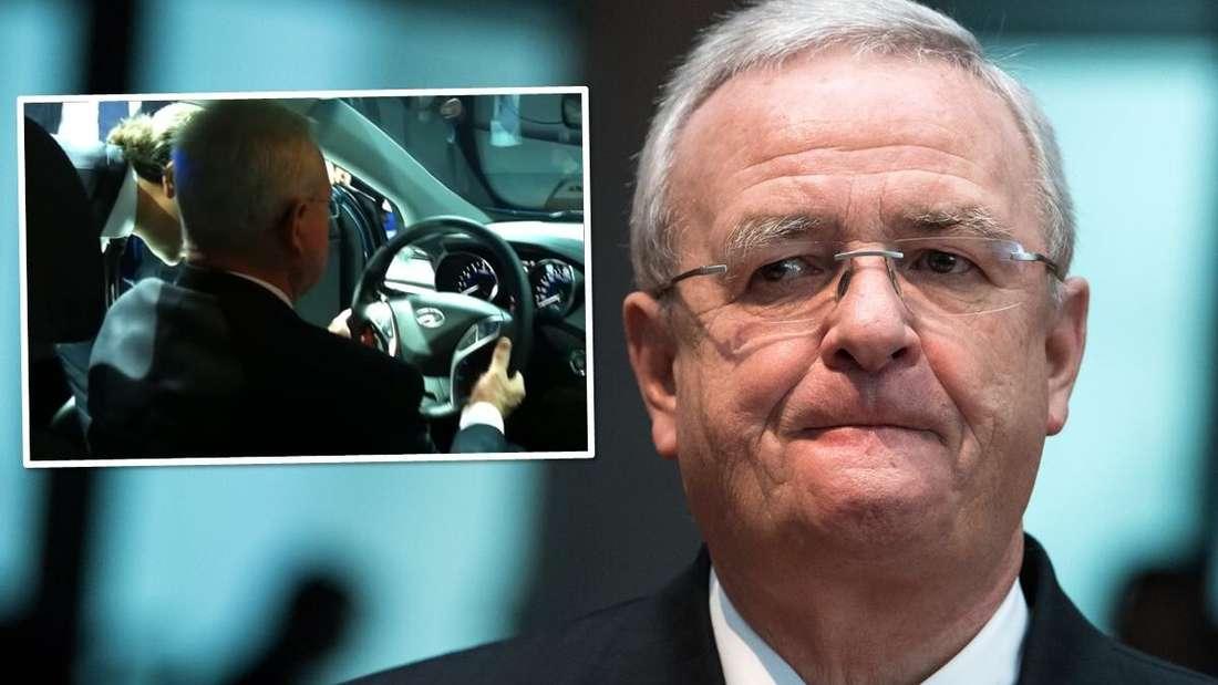 Ex-VW-Chef Martin Winterkorn und die Szene aus dem berühmten YouTube-Video.