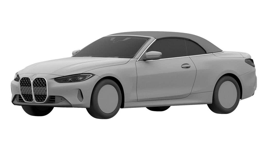 BMW 4er Cabrio von schräg vorne als Patentzeichnung