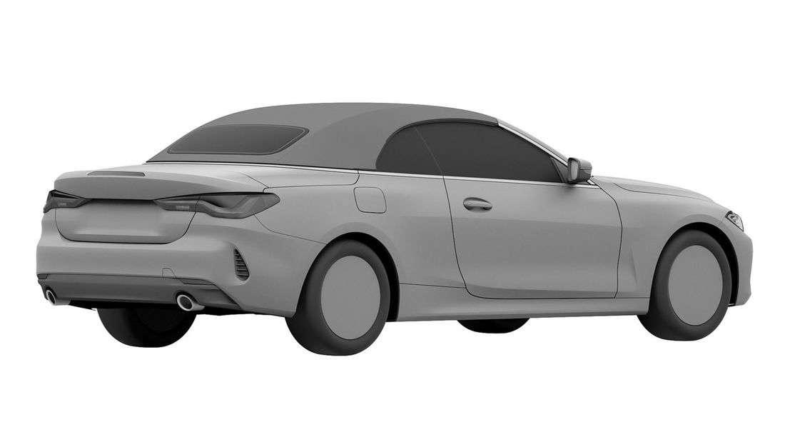 BMW 4er Cabrio von schräg hinten als Patentzeichnung