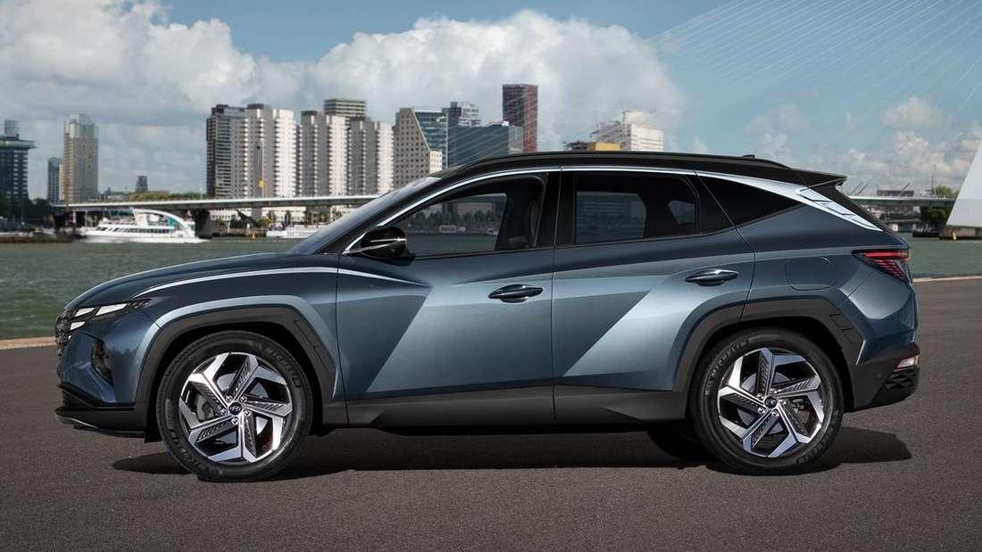 Standaufnahme eines Hyundai Tucson im Profil