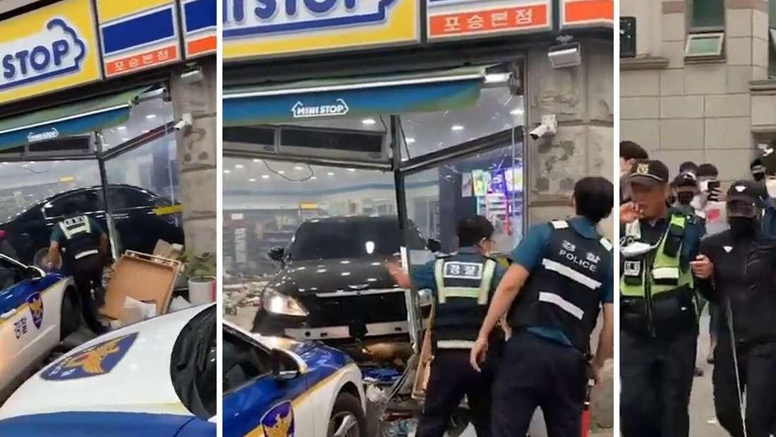 In Südkorea rast eine Frau mit ihrem Auto mit voller Absicht in einen Supermarkt und wird festgenommen.