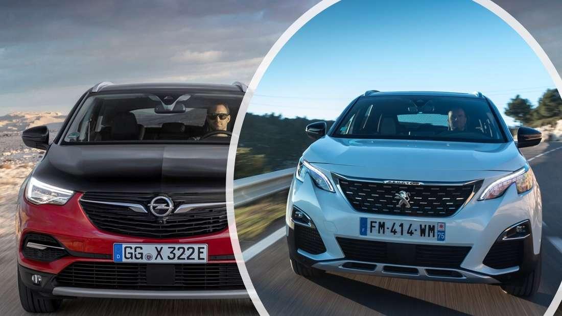 Bildkollage: Opel Grandland X links und Peugeot 3008 rechts