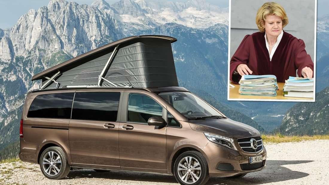 Ein Mercedes-Benz V 220 d Camper steht vor alpinem Bergpanorama, dazu BGH-Richterin Christina Stresemann. (Symbolbild)