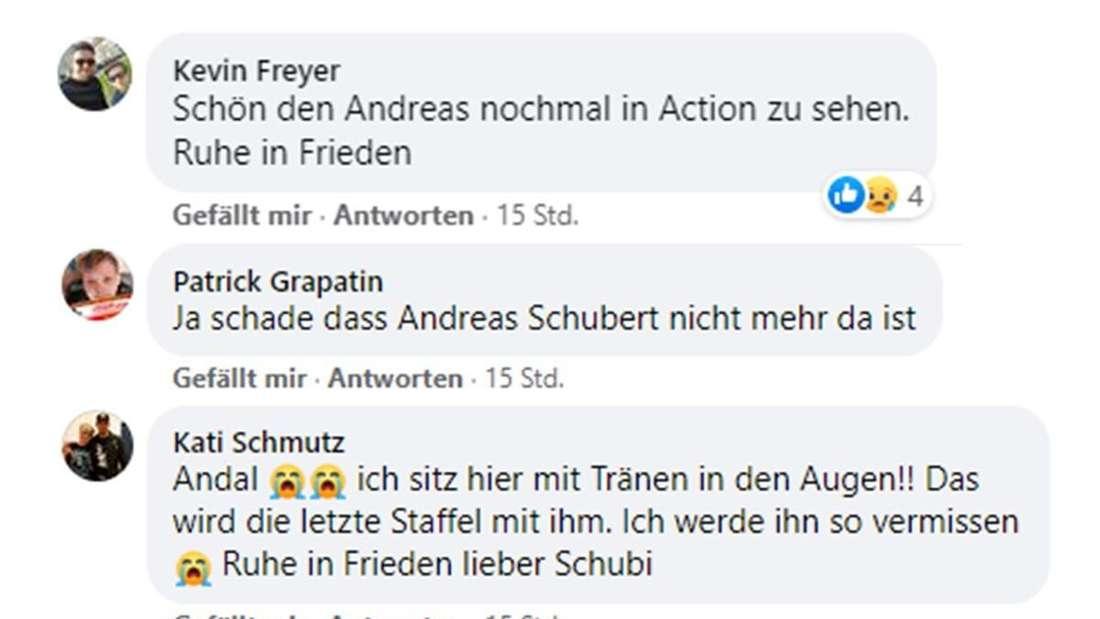 Facebook-Posts mit Wünschen für Andreas Schubert