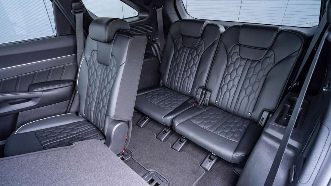 Detailaufnahme der dritten Sitzreihe in einem Kia Sorento