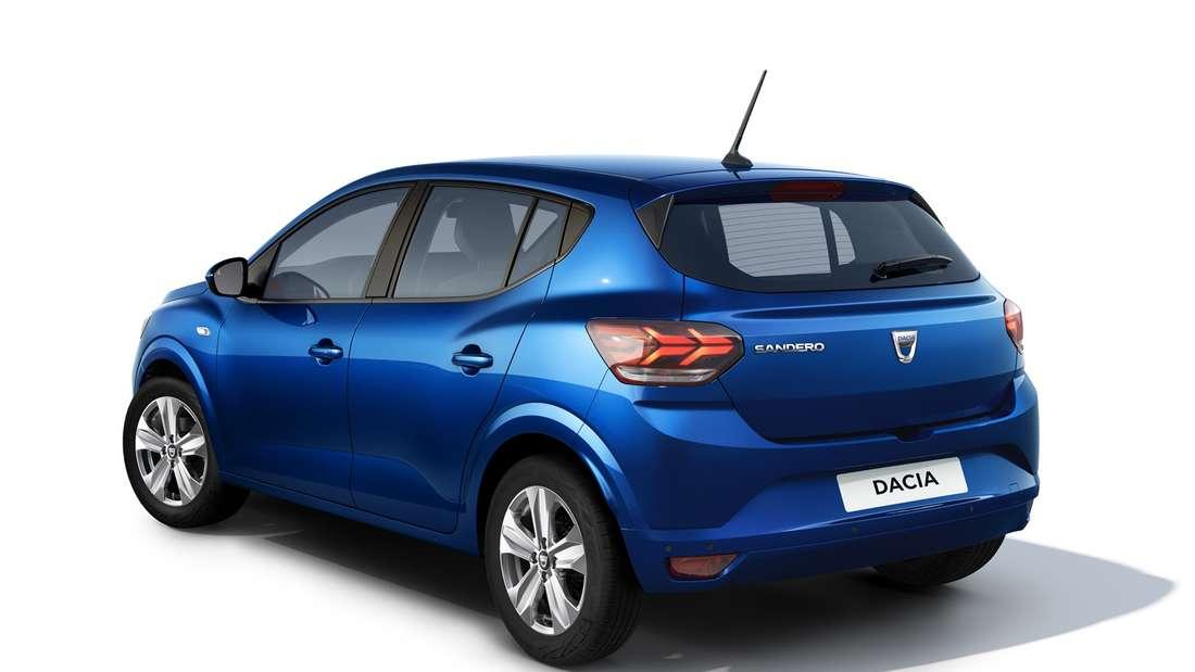 Heckaufnahme eines Dacia Sandero.