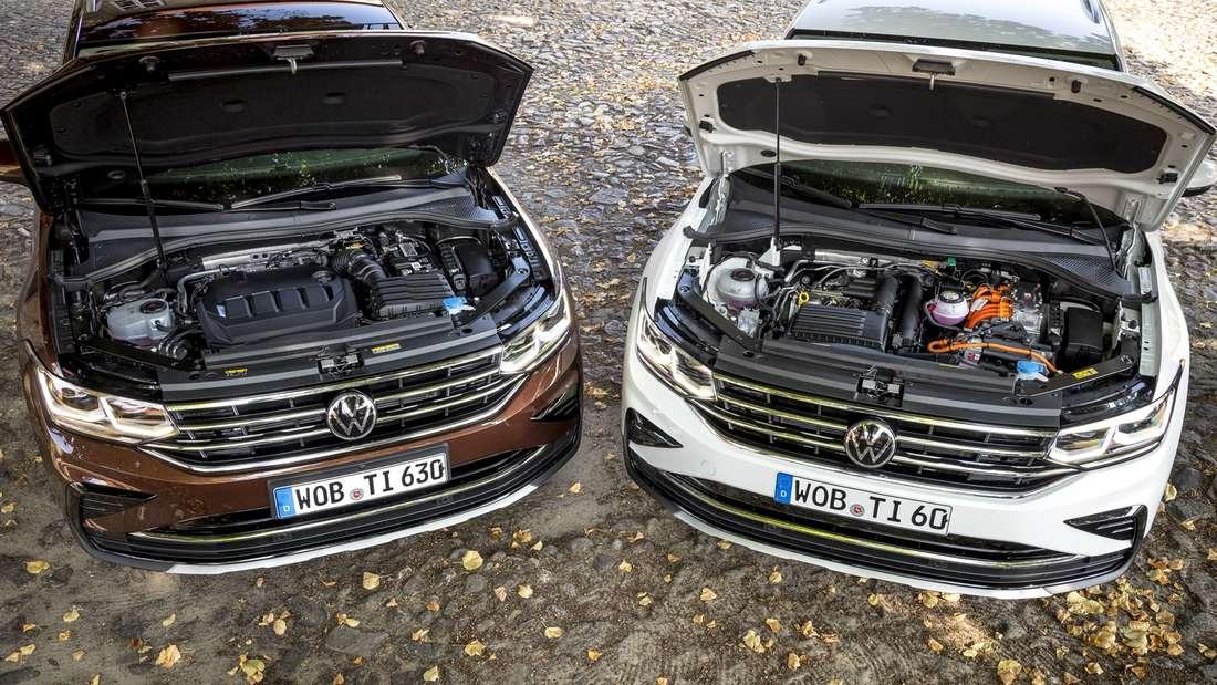 Detailaufnahme des Motorraums eines VW Tiguan TDI und VW Tiguan eHybrid