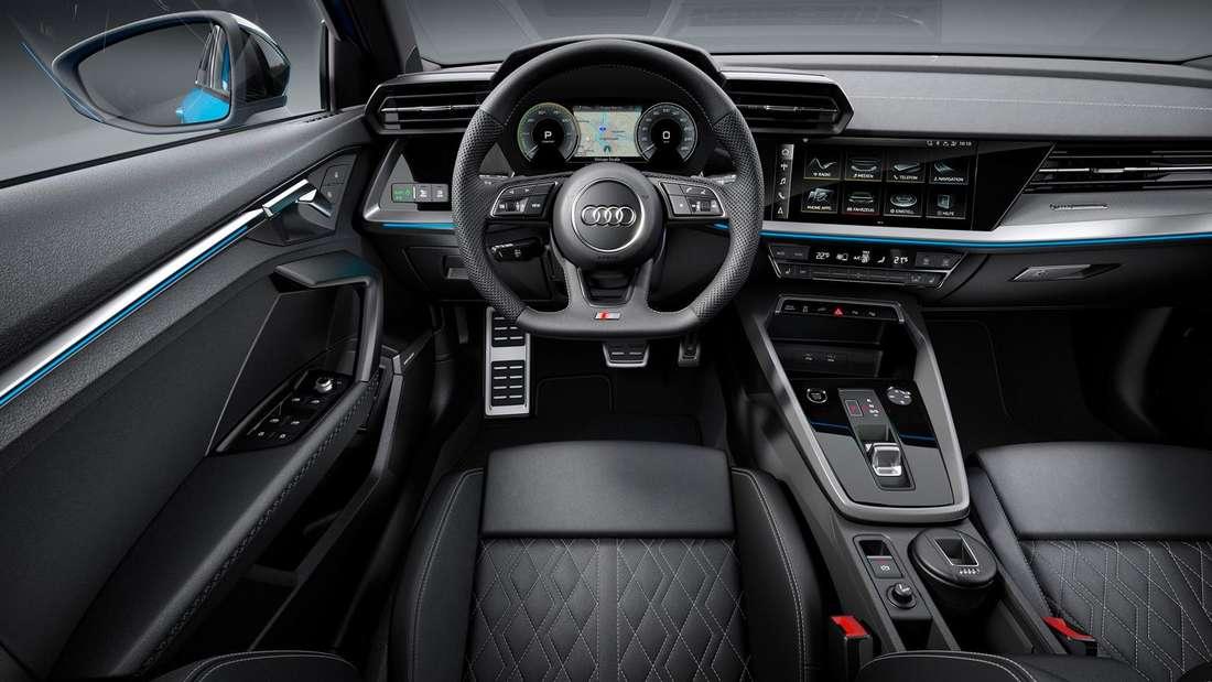 Cockpit-Aufnahme eines Audi A3 40 TFSI e