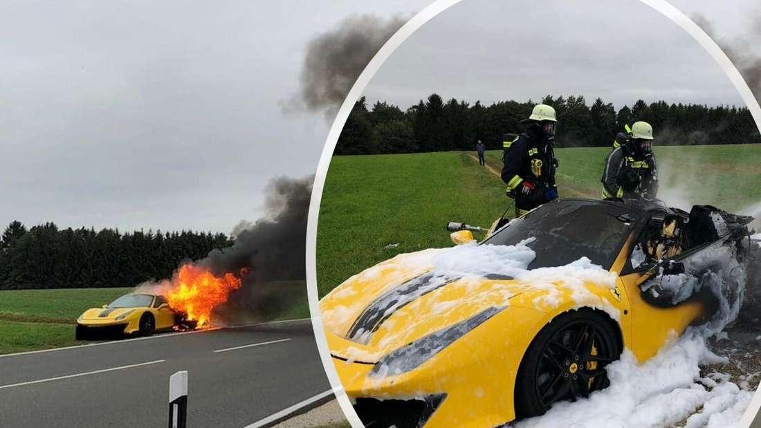 Bildmontage aus dem brennenden Ferrari 488 Pista Spider (links) und dem Löscheinsatz (rechts)