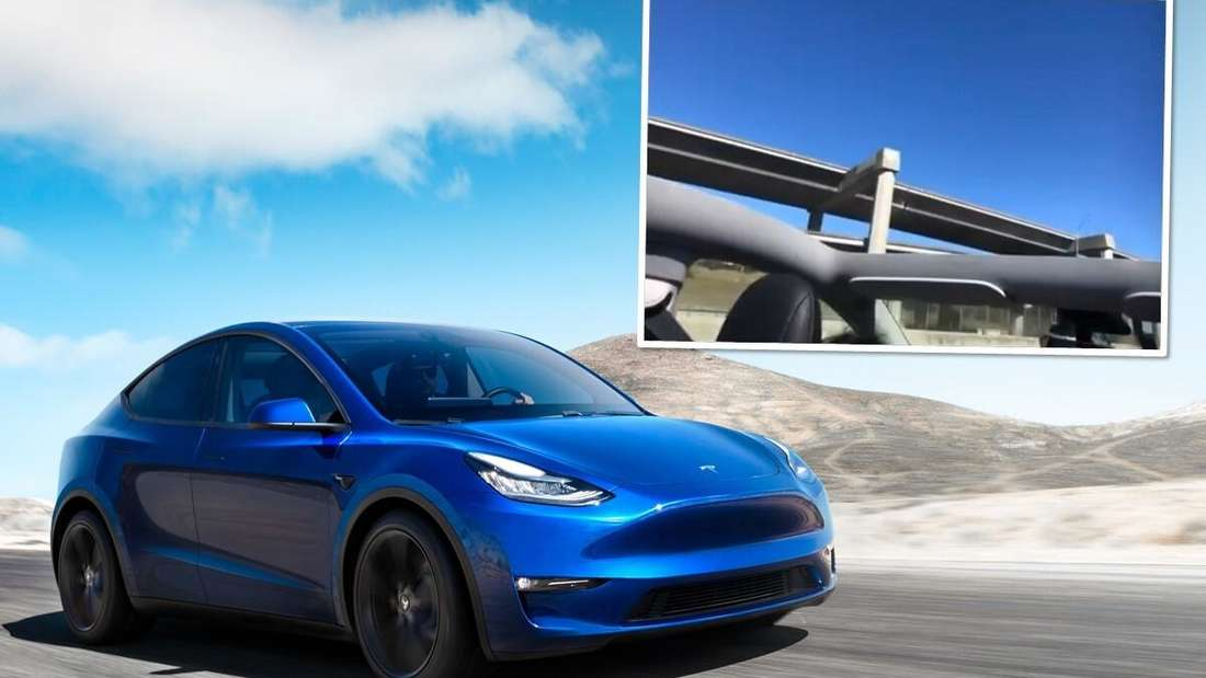 Ein blaues Model Y von Tesla fährt über einen Highway – oben ist ein Panoramadach ohne Glaseinsatz zu sehen. (Symbolbild)