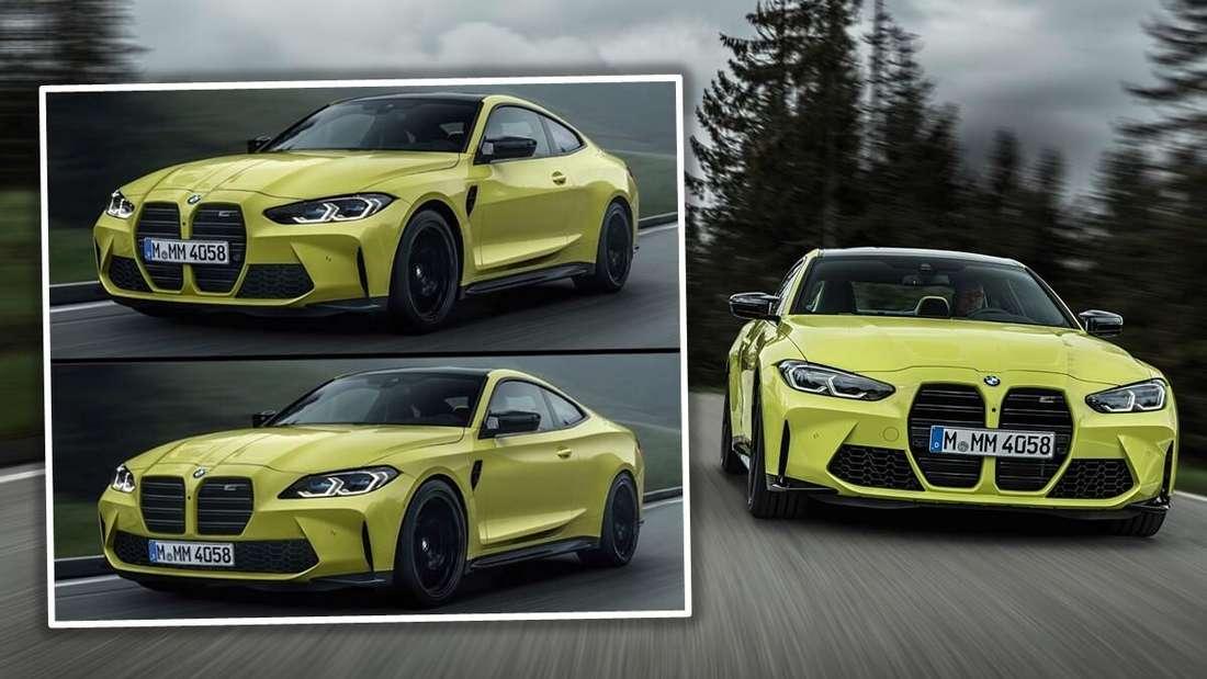 Bildmontage aus einem BMW M4 (rechts) und dem Vergleich aus dem Original und der verbesserten Variante (links)