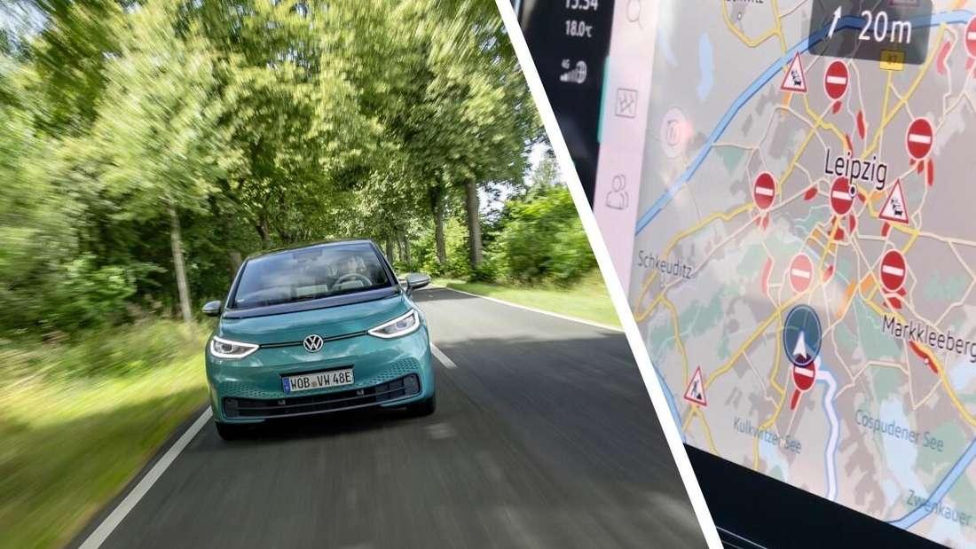 Bildmontage aus einem fahrenden VW ID.3 (links) und einer Kartendarstellung (rechts)
