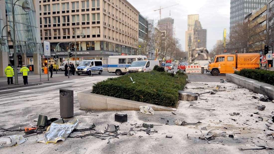 Eine Unfallstelle in der Berliner Tauentzienstraße