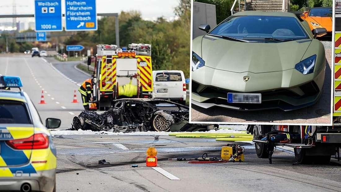 Das Wrack eines ausgebrannten Lamborghini Aventador S auf der Autobahn A66.