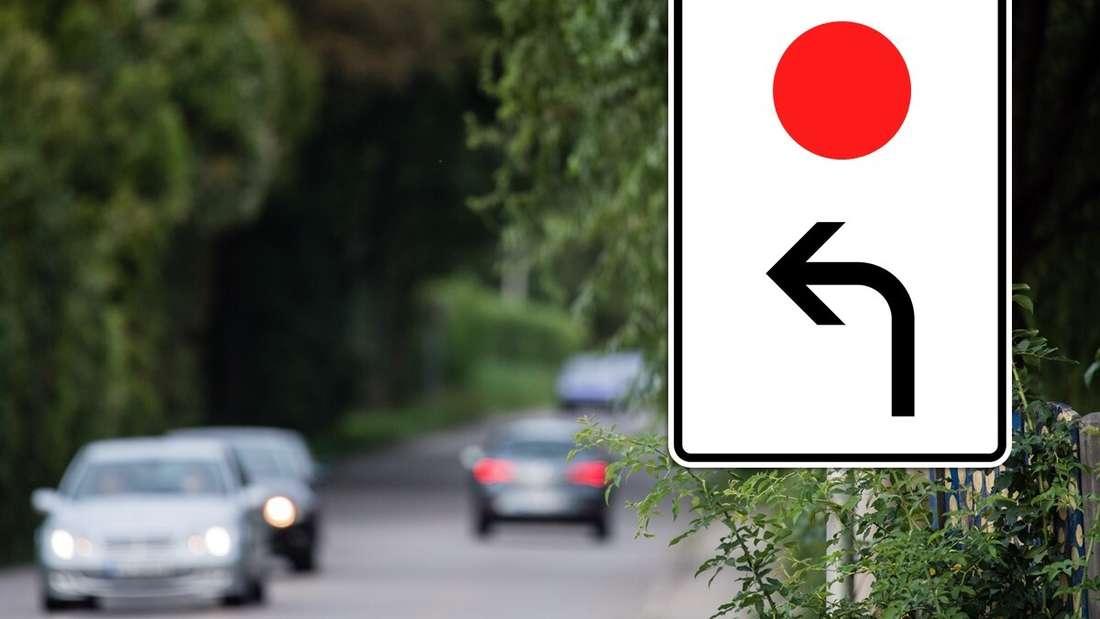 Ein Schild mit rotem Punkt und einem Richtungspfeil steht am Straßenrand. (Montage)