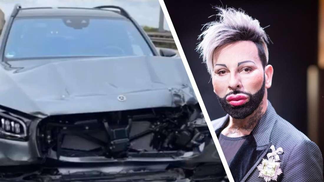 Ein demoliertes Mercedes-SUV, ein Porträt des Modedesigners Harald Glööckler.