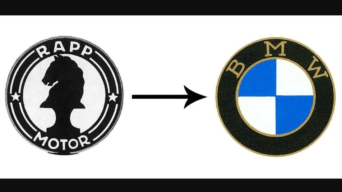 """Links das Logo der """"Rapp Motorenwerke"""", rechts ein frühes Logo von BMW"""