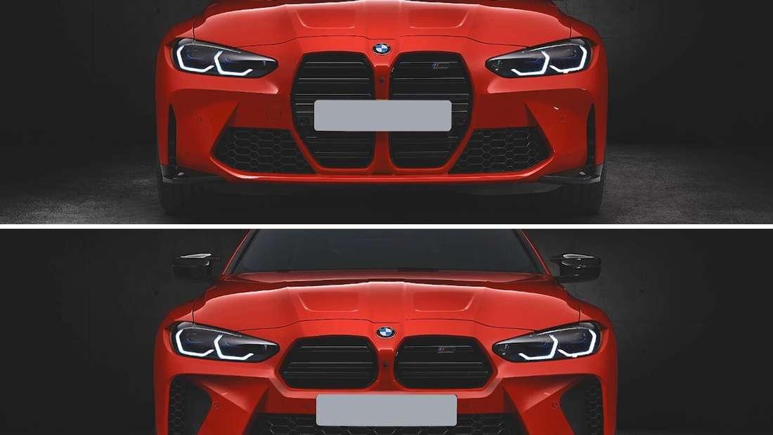 Oben: Die Front des neuen BMW M4 – unten: die Front des von Prior Design umgestalteten BMW M4