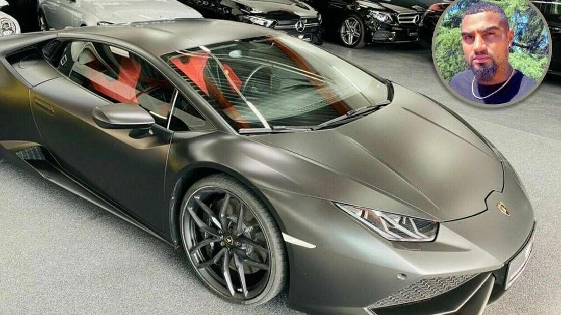 Bildmontage aus einem Lamborghini Huracán und Kevin-Prince Boateng rechts oben