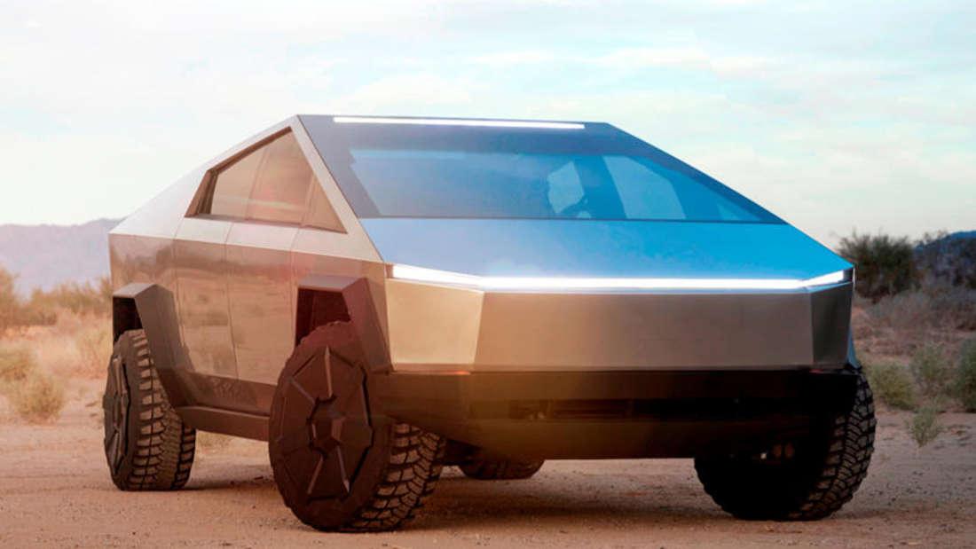 Der futuristische Elektro-Pick-up Tesla Cybertruck von vorne