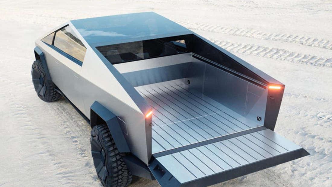 Die Ladefläche des futuristischen Elektro-Pick-ups Tesla Cybertruck