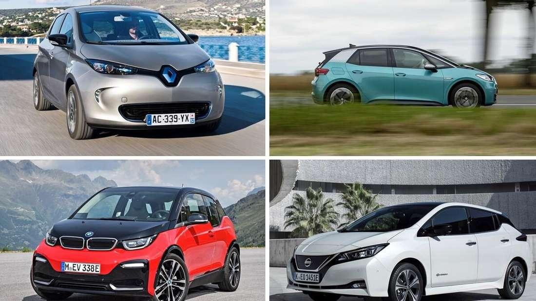 Fotomontage von Renault Zoe, VW ID.3, BMW i3 und Nissan Leaf