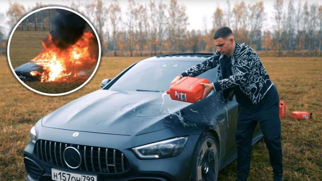 Der Influencer Mikail Litvin übergießt seinen Mercedes-AMG GT 63 S Viertürer mit Benzin, dazu Szene des brennenden Autos.