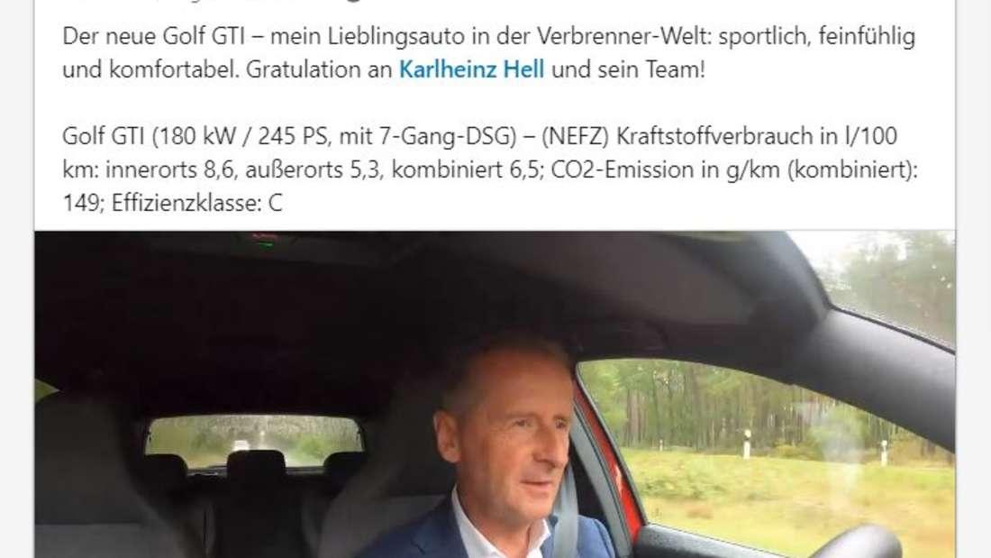 Ein Screenshot des LinkedIn-Posts von Herbert Diess zu seiner Probefahrt im neuen VW Golf 8 GTI