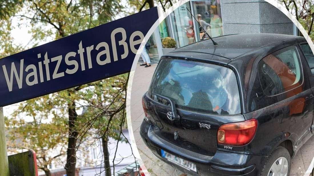 Verkehrsunfall in der Hamburger Waitzstraße: Ein schwarzer Toyota Yaris PKW ist in ein Ladengeschäft gefahren.