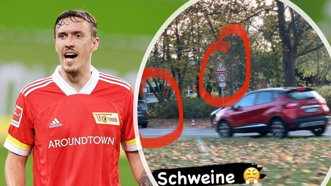 Fußballer Max Kruse im Trikot des 1. FC Union Berlin, dazu ein Ausschnitt seines Instagram-Posts.
