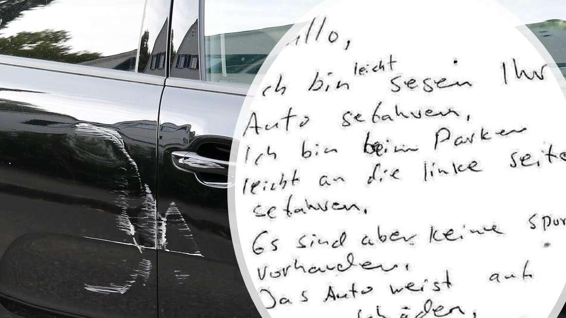 Ein beschädigtes Auto, der Zettel des Unfallversursachers (Symbolbild)